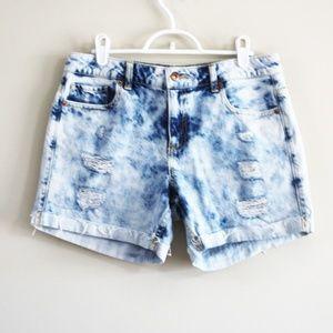 Forever 21 | Acid Wash Distressed Jean Shorts
